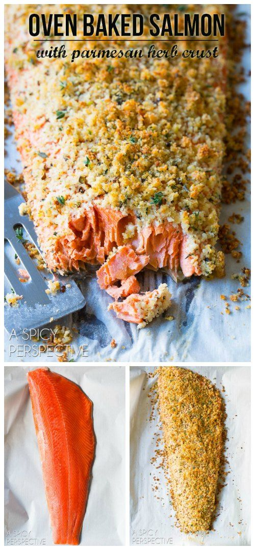 6-Ingredient Oven Baked #Salmon with Parmesan Herb Crust on ASpicyPerspective.com