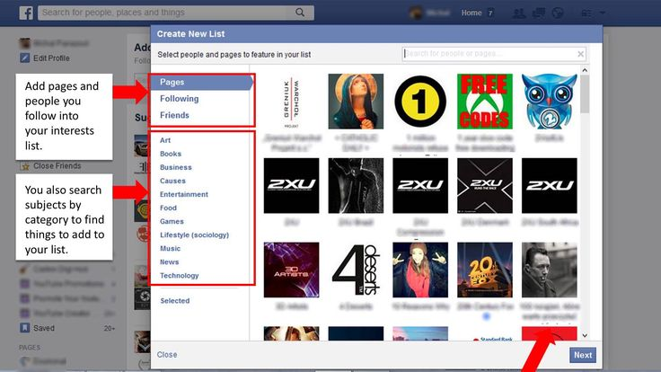 How to make an Interests lists on Facebook