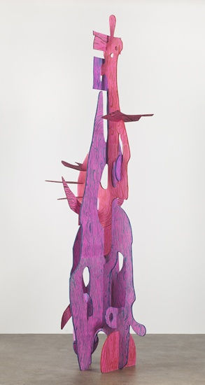 Interlocking Shape Sculpture - exploring shape, colour, form, balance, space - Draw amorphous, geometric or organic shapes - cut slits and work out how to assemble to form a free standing sculpture - paint shapes with acrylic washes - image inspiration: Aaron Curry - pink and blue, 2011
