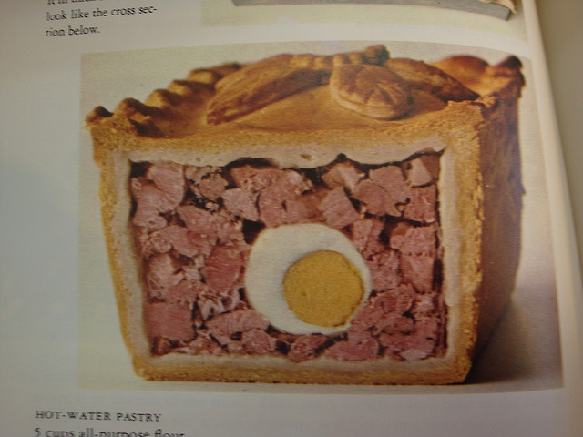 Eggs and ham baked in a pie. The egg looks like a cross section of someone's…