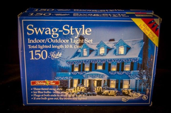 Outdoor Swag Lights Part - 20: Holiday Time Swag Style Christmas Lights 150 3 Tier Style In Box White Blue  Cool Stuff