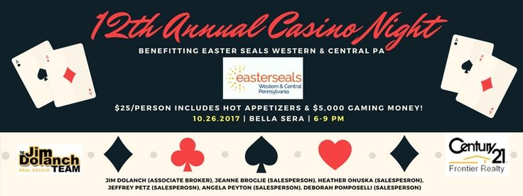 🍻♣It's that time of year again! Hope to see you all at our 12th Annual #casinonight that benefits Easter Seals Central PA!! --> https://www.facebook.com/events/1092947990836679/