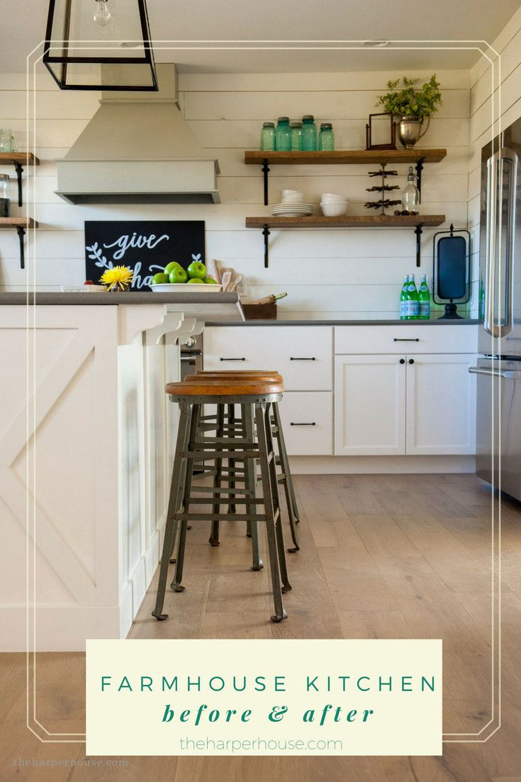 DIY Farmhouse Kitchen before and after featuring stock cabinets from Menards!