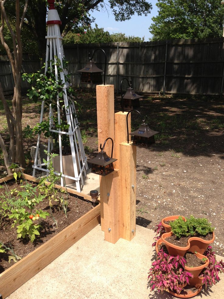 Twist on the landscaping timbers light I saw. Rough hewn cedar with hanging  lights. - 51 Best Landscape Timber Images On Pinterest Solar Lights