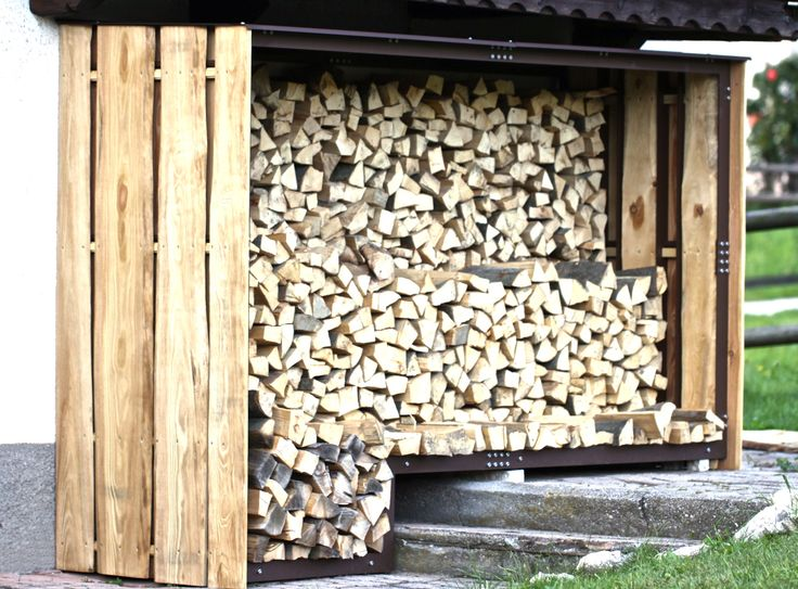 An outdoor woodshed to store firewood made by http://www.metaldesign.org