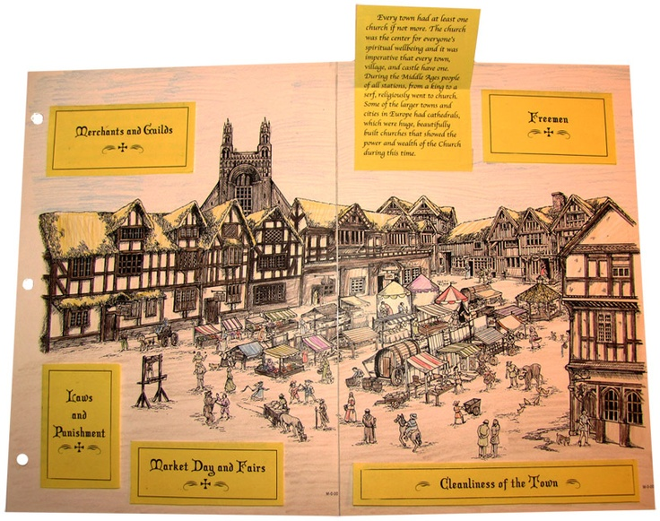 """Get a taste of our materials! Create """"The Town,"""" a lift-a-flap fold-out of a Medieval town; just one of several projects provided in the FREE sample lesson for Project Passport: """"The Middle Ages"""" (Look for the big blue button at the top right corner of the webpage!)"""