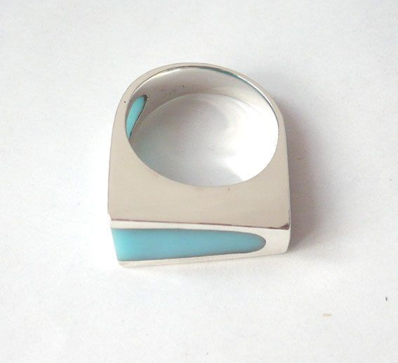Handmade Sterling silver turquoise resin by cynthialopezjoyera