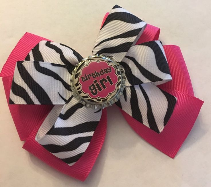 Beautiful Handmade Zebra Print Birthday Girl Bottle Cap Hair Bow Birthday Bow  | Clothing, Shoes & Accessories, Kids' Clothing, Shoes & Accs, Girls' Accessories | eBay!