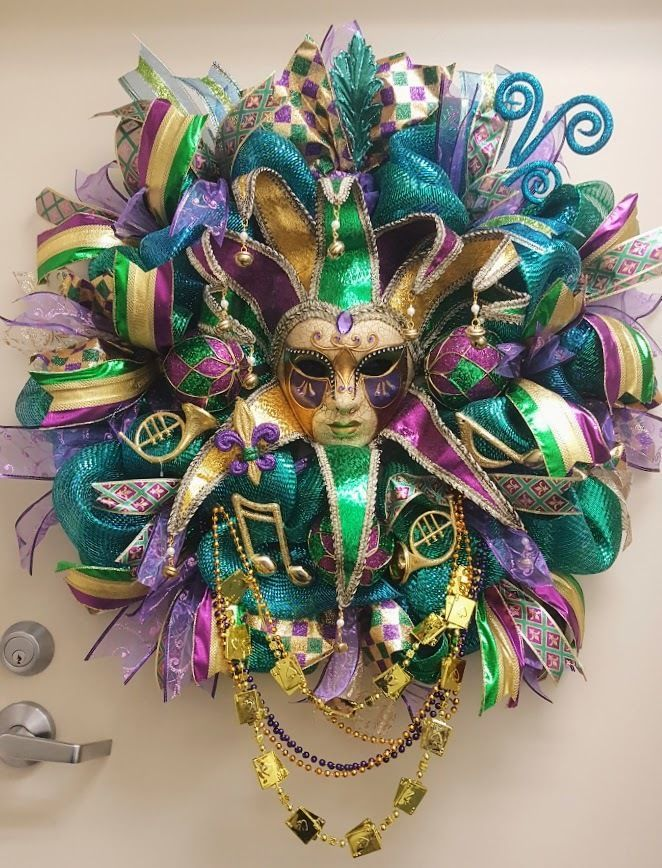 FAT TUESDAY~VENETIAN JESTER MARDI GRAS MASK~BEADS, ORNAMENTS, HORNS~WREATH #Handmade