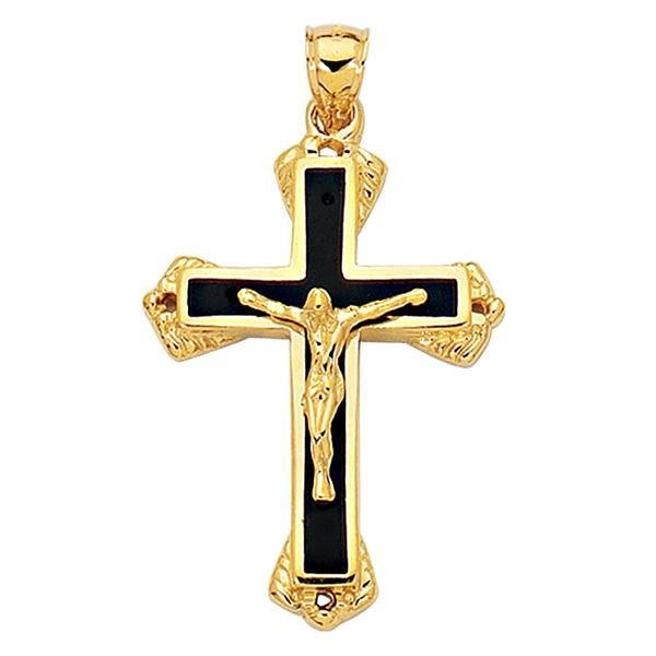 14k Yellow Gold And Black Enamel Crucifix Cross Mens Pendant Gold Cross Pendant Mens Pendant 14k Yellow Gold