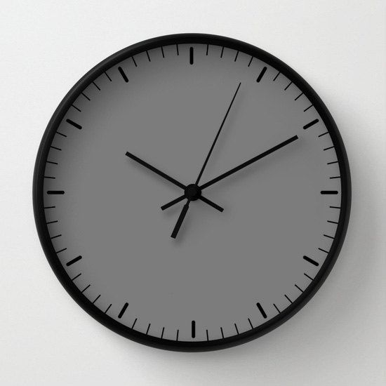 Grey wall clock classic design black and by LazyLittleLuckyGirl
