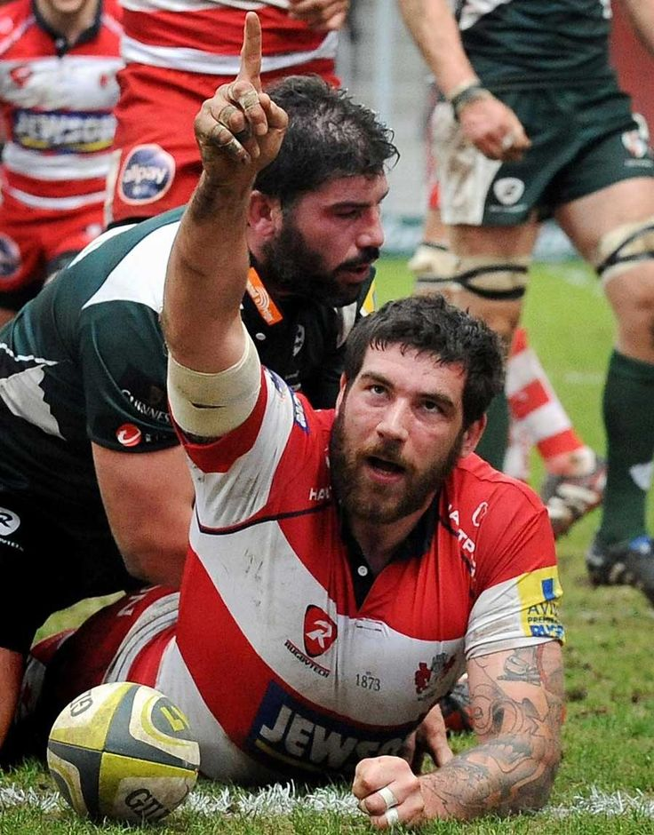 Gloucester's Jim Hamilton celebrates his first-half try against London Irish