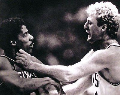 November 9, 1984 - Julius Erving vs. Larry Bird.  Both Bird and J attempted some primitive MMA in this Celtics vs Sixers game, but eventually the Sixers tapped out and lost.