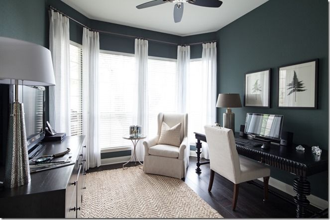 The paint color (Benjamin Moore HC-160 Knoxville Gray) is gorgeous green-blue-gray color that really sings.