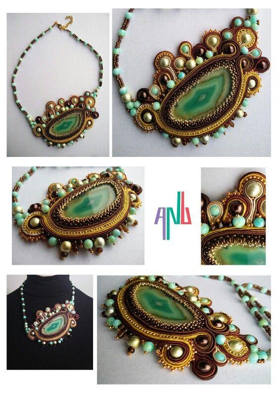 Handmade ANU Jewelry,  Soutache Necklace, agate stone, beads