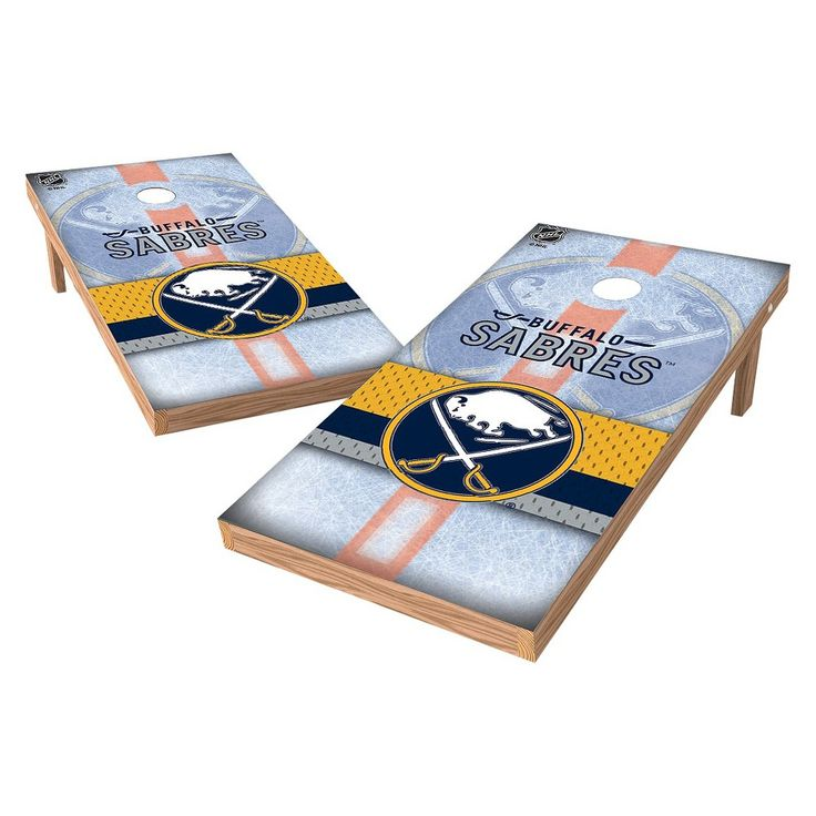 NHL Wild Sports Shield Cornhole Bag Toss Set - 2x4 ft. - Buffalo Sabres