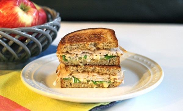 Grilled turkey, brie, arugula and apple butter sandwich