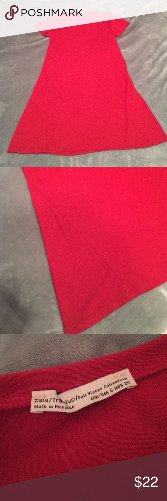 Red Zara tshirt dress Worn once Zara Dresses Mini