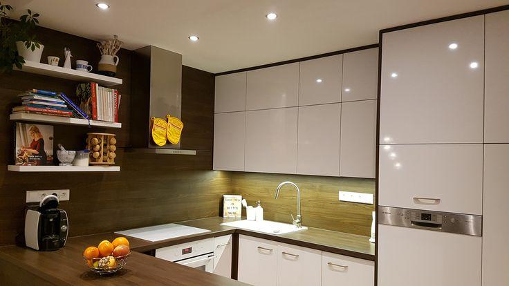 modern white kitchen; high dishwasher