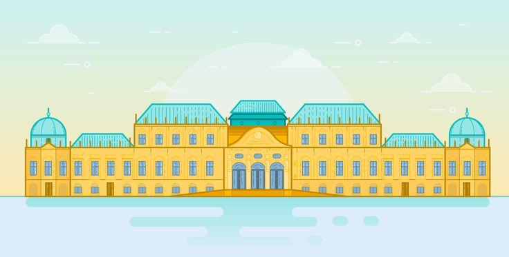 Belvedere building in Vienna - Flat thin line illustration