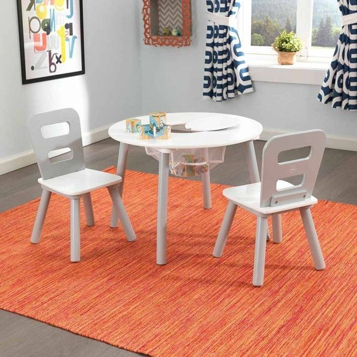 Kids Round Table And Chairs Wooden Nursery Furniture Set White Gray Wood 3 Pc