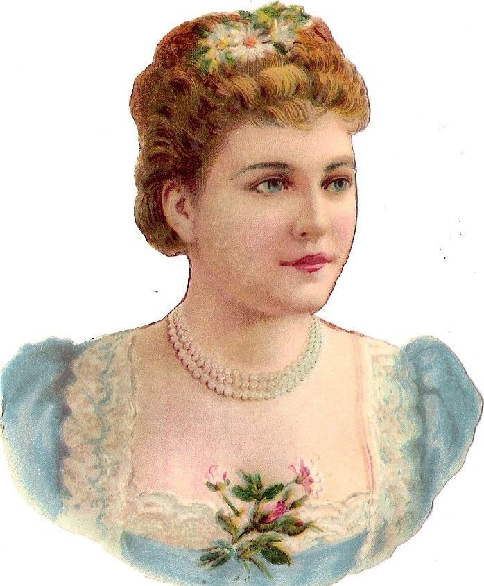Oblaten Glanzbild scrap die cut chromo Lady Dame femme 11cm buste portrait head