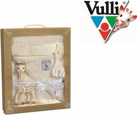 Zestaw Żyrafa Sophie koc Prestige SoPure - Zestaw Żyrafy Sophie z kocykiem PRESTIGE jest przewiązany piękną wstążką, opakowany w eleganckie, ekologiczne pudełko z uchwytem ze sznurka i małą, bawełnianą zawieszką w kształcie żyrafy Sophie, co sprawia, że jest to doskonały prezent dla nowonarodzonej pociechy.