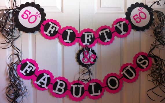50th Birthday Decorations Party Banner Fifty & by FromBeths