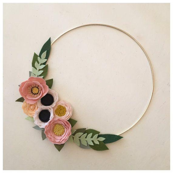 FELT FLOWER WREATH // Modern Wreath // Gold Hoop Wreath // Wall Art // Floral Wreath // Peach + Blush // Roses + Anemones