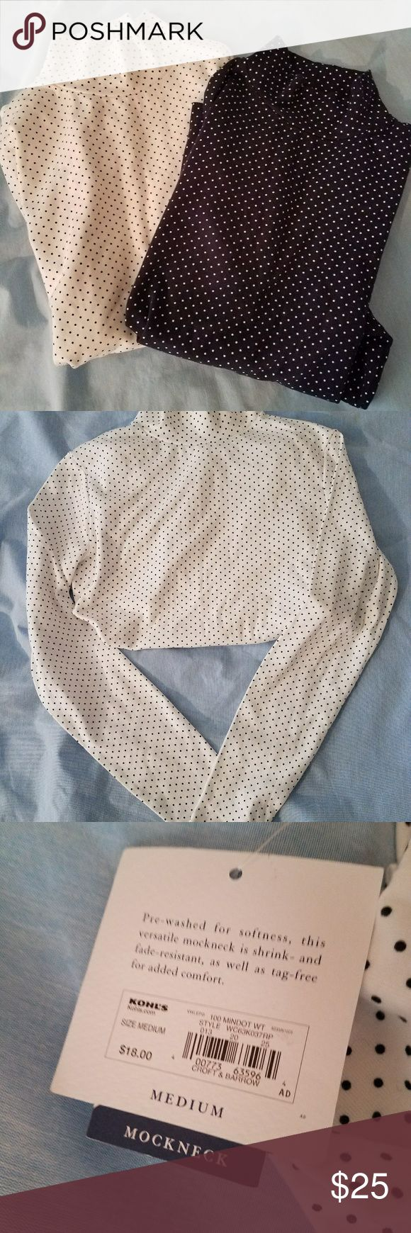 Long sleeve mock neck shirts Polka dot cotton pullover long sleeve shirt  One is white with black polka dots and the other is Blue with white polka dots. croft & barrow Tops Tees - Long Sleeve