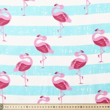 Flamingo Printed Cotton White 120 cm