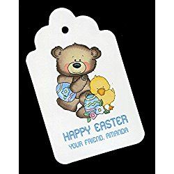 Easter Gift Tags, Bear With Chick, Personalized Set of 25