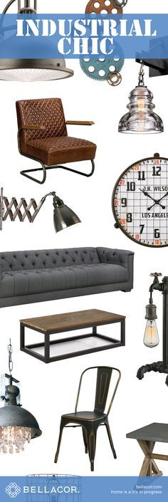 Shop Industrial Chic Lighting, Furniture and Home Decor. Free Shipping on all orders $75+ plus our Bellacor Price Match Guarantee. http://www.bellacor.com/industrial-chic.htm?partid=social_pinterestad_industrialchic_collage