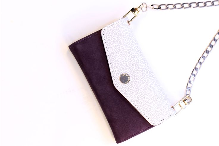 Crossbody Wallet Case – Pearl Stingray Print & Purple Suede