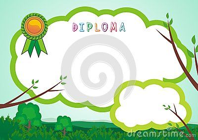 Kid Diploma - Blank Flat cloud design on top the forest