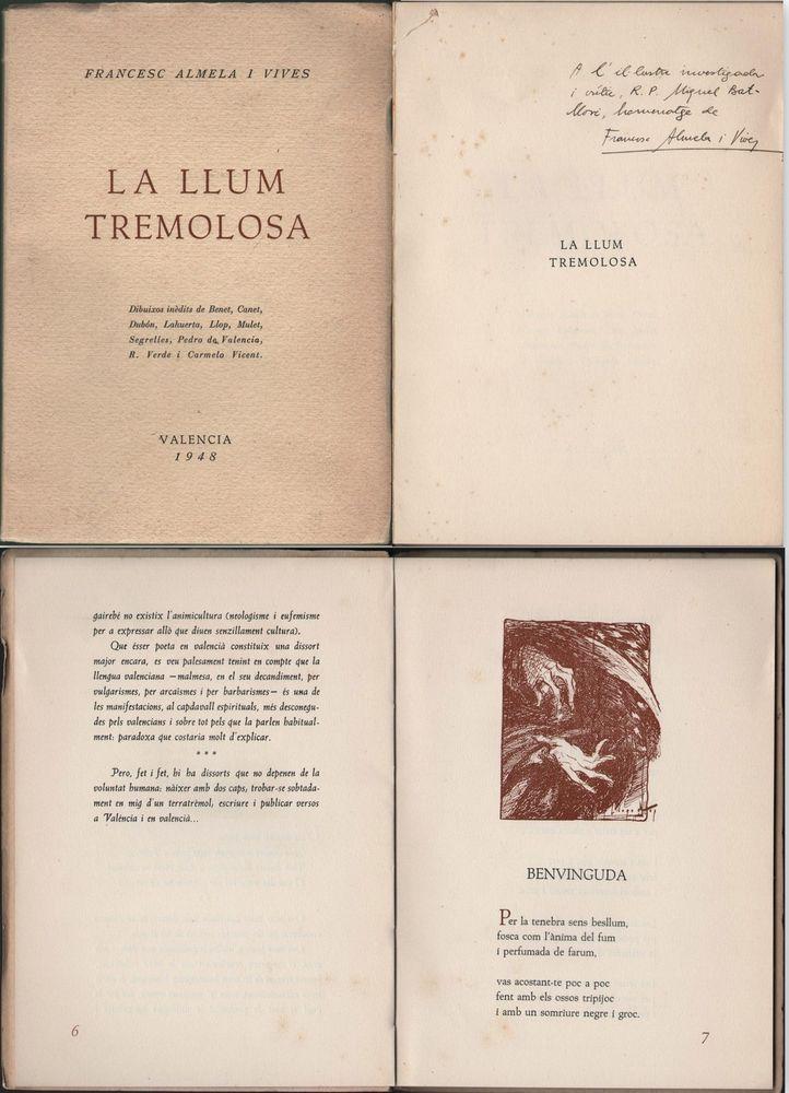 La llum tremolosa Francesc Almela I Vives-autógrafo-Valencia 1948-Tirada-104-300