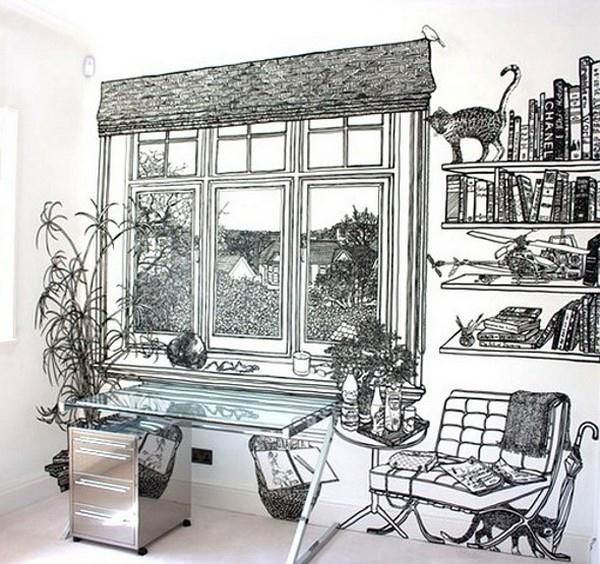 It's not wallpaper... hand drawn illusion by Charlotte Mann.