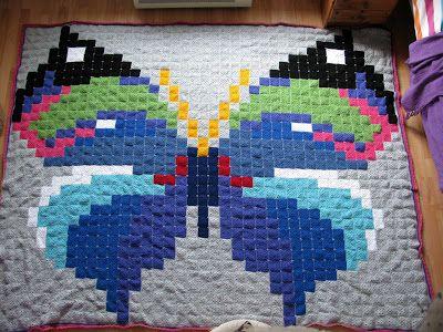 crochet Granny square butterfly blanket