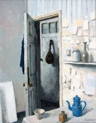 Charles Hardaker is showing a open door wich is at an angle. It is also showing a musicle instement though it