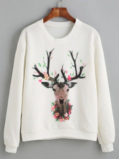 Shop White Deer Print Sweatshirt online. SheIn offers White Deer Print Sweatshirt & more to fit your fashionable needs.