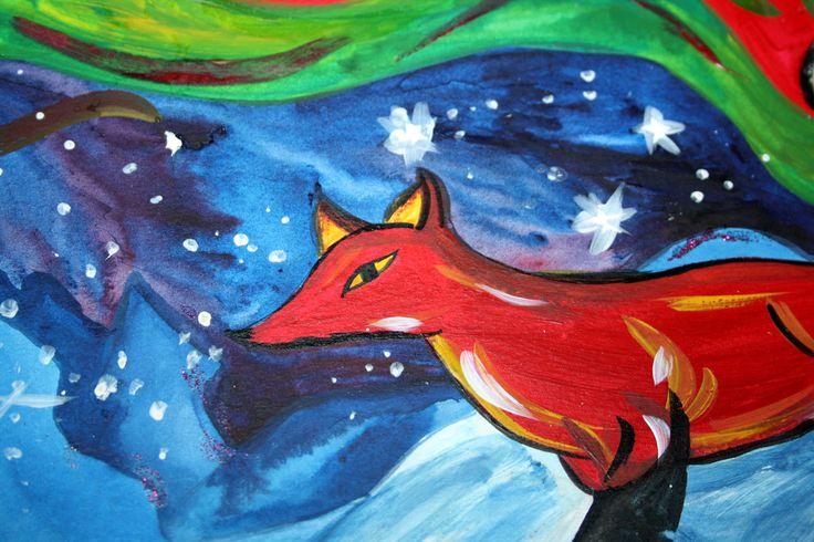 Fox Fairytale Original Acrylic Painting Fire Fox Northern Lights Aurora Borealis Animal Fairy Tale Lapland Mythology by Niina Niskanen
