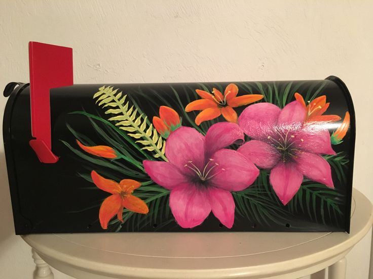 Hand painted TROPICAL FLOWERS mailbox! by intocreating on Etsy