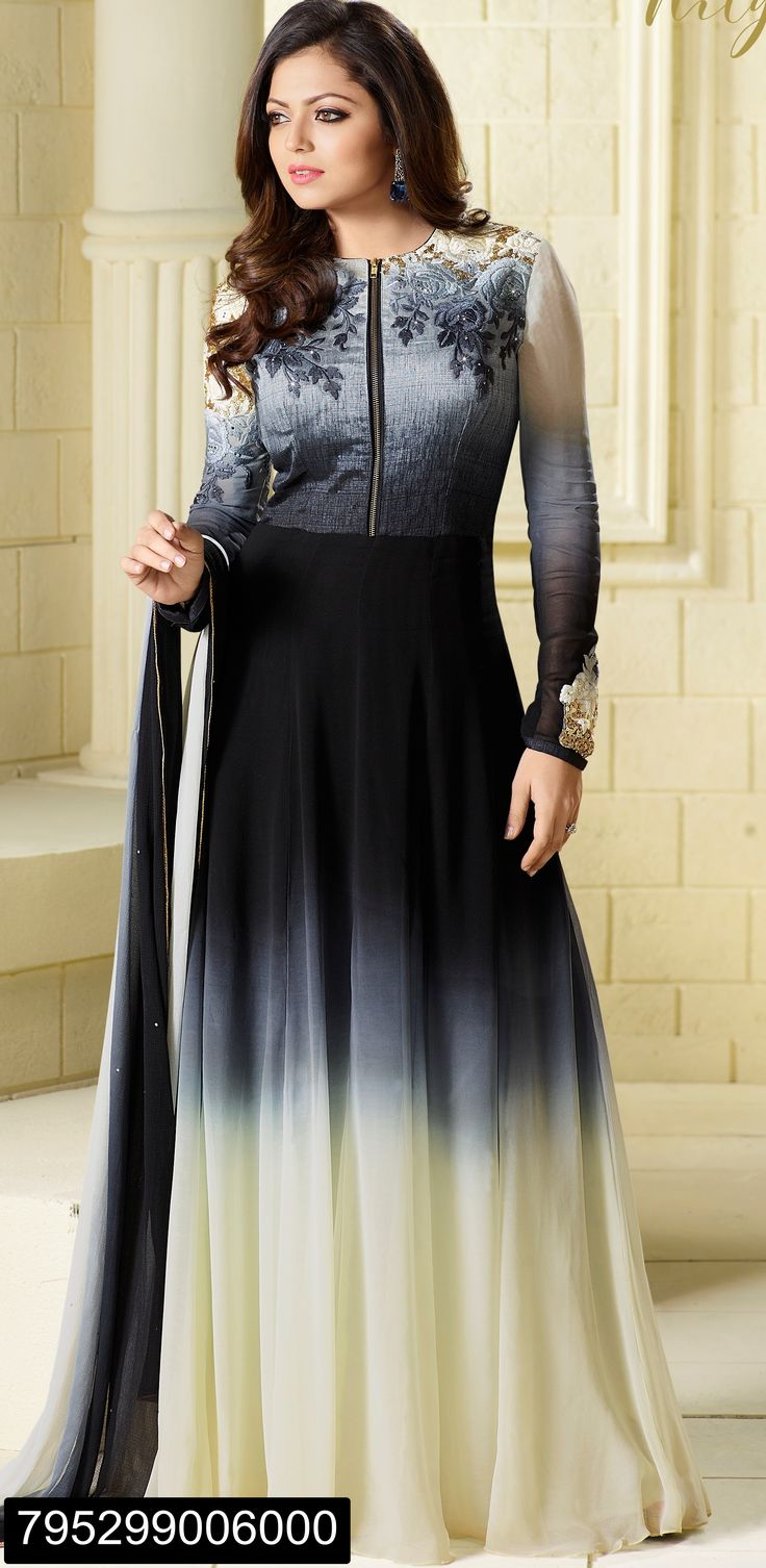 Drashti Dhami Georgette black and cream contrast floor length Anarkali suit with resham zari sequence and sleeves work and dupatta with golden lace