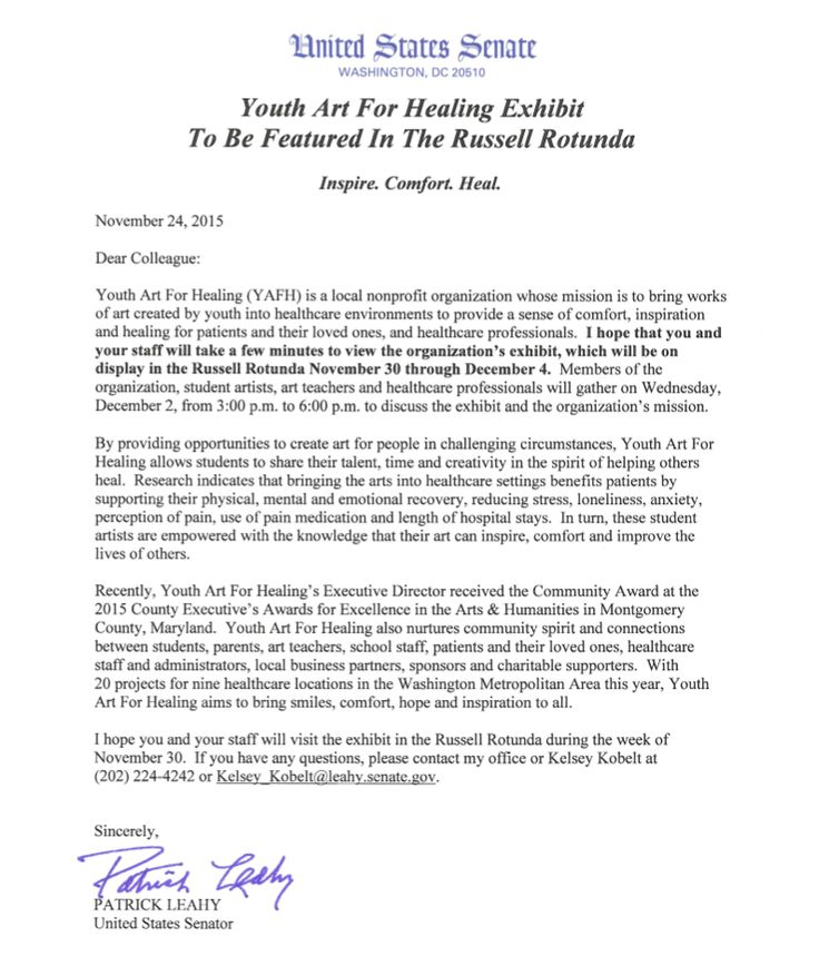 Official letter of invitation to the Youth Art For Healing Capitol - formal invitation letters