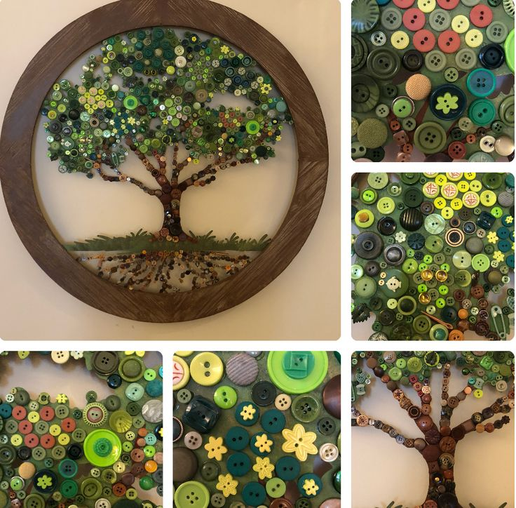 """Button tree I embellished using art piece from Hobby Lobby 34"""" across."""