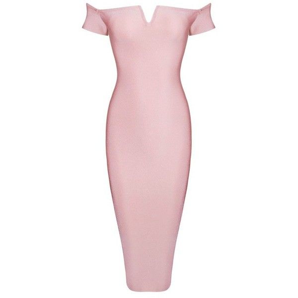 Posh Girl Athea Off Shoulder Bandage dress-Pink-L ($148) ❤ liked on Polyvore featuring dresses, pink, pink day dress, off the shoulder dress, posh girl, off shoulder dress and zipper back dress