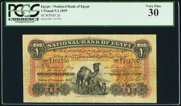 World Currency Egypt National Bank Of Egypt 1 Pound 5 1 1899 Pick 2b Pcgs Veryfine 30 Egypt Pcgs National