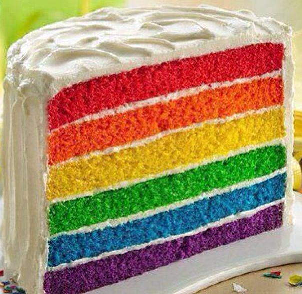 Rainbow cake!!  My daughter made one of these for her twins' 5th birthday but didn't tell anybody.  Such fun when the cake was cut!