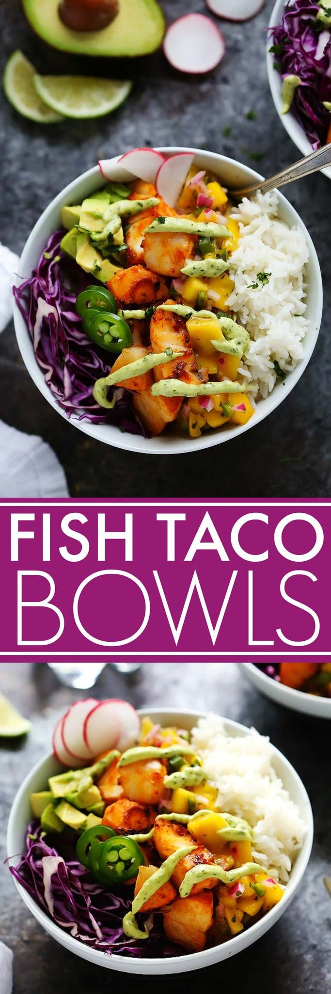 These Fish Taco Bowls with Mango Salsa & Avocado Cream Sauce make a quick and healthy weeknight dinner that's ready in under 30-minutes!   platingsandpairings.com