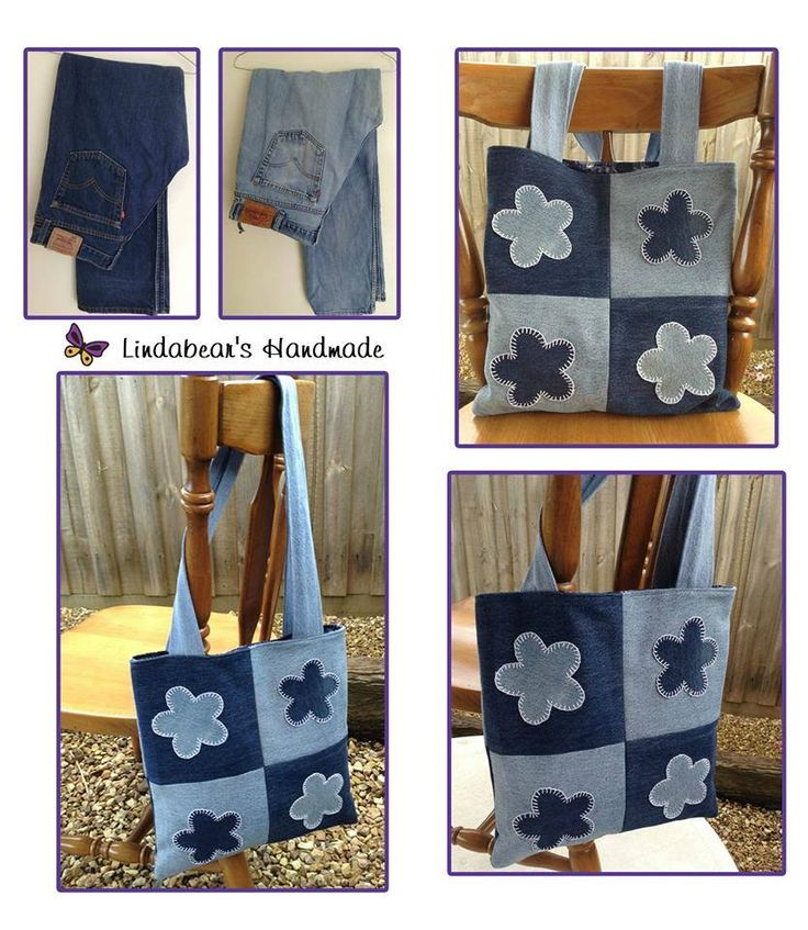 Handmade by Lindabears Handmade Upcycled Denim Bag with Appliqued Denim Flowers. For more information, please visit www.facebook.com/HandmadeMarkets
